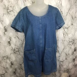 Vintage 90s Denim Midi Dress Blue Size 14
